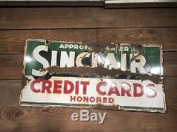 Antique Porcelaine Sinclair Signe De Pompe À Gaz Station Service Texaco Oil Can Gulf Vieux