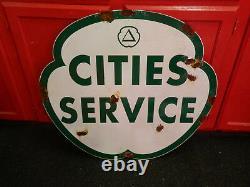 Antique Style Porcelaine Look Citi Service Concessionnaire Service Station-service Grand Signe
