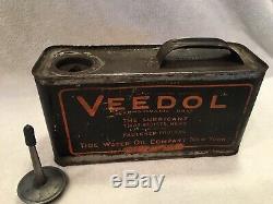 Antique Veedol 1/2 Huile Moteur Peut Gallon Service Station Gaz Rare 1/2 Gallon Lire