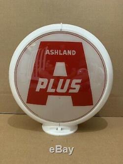 Ashland Plus De Pompe À Gaz Globe Lumière Vintage Verre Garage Station Service Objectif