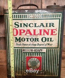 Au Début Vintage 1 Gal Sinclair Opaline Huile Moteur Oiler Tin Can Service Station Gaz