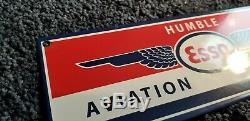 Aviation Esso Vintage Produits Oil Service Porcelain Station Pump Plate Sign