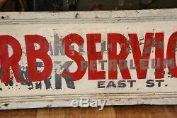 Cadre En Bois Vintage Trade Sign Curb Petroleum Service Saint-louis, La Station IL Gas