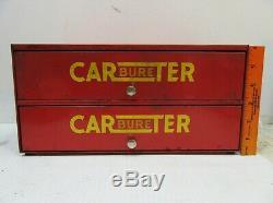 Carter Carburateur Pièces D'affichage 2 Service Station Armoire À Tiroirs Gaz Vintage
