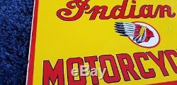 Chef Du Service De Vintage Indian Motorcycle Porcelain Station Pump Plate Sign