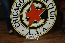 Chicago Motor Club D'origine Aaa Porcelain Connexion Station Service Garage Concessionnaire