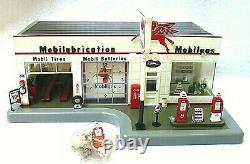Danbury Mint Gaz Station De Lumière Mobil Horloge Diorama Station Service Vintage