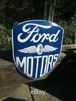 Ford Motars Shield Old School Gaufrée Affichage De Luxe En Métal Standard V8 Ailes