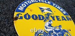 Goodyear Motorcycle Porcelain Gas Oil Pneus Station Service Vintage Style Du Panneau