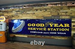 Goodyear Porcelaine Signe 14' Massive 1920 De La Station De Service Gaz Garage De Pétrole Rare