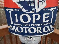 Grand 21 Tiopet Essence Sign Service Station Plaque Porcelain Gas Pump Can
