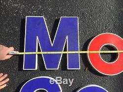 Grand Original Vintage Service Oil & Gas Mobil Motor Station De Lettres Nos Inscrivez-vous