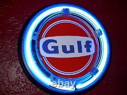 Gulf Oil Service Station Gas Garage Man Cave Publicité Néon