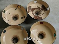 Htf Vintage Jeweled Station Service Abat / Huile Gaz Porcelaine Lot De 4