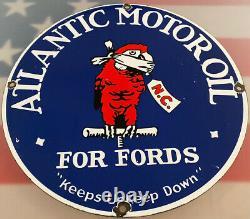 Huile À Moteur Vintage Atlantic Pour Ford's Porcelain Sign Gas Station Pump Service