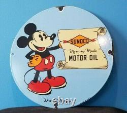 Huiles De Moteur Sunoco Vintage Porcelaine Mickey Station De Service D'essence De La Souris Signe De Pompe