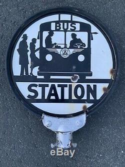 La Fonction Publique De La Gare Routière Porcelain Sign Gas Oil Voyage Vintage Transport