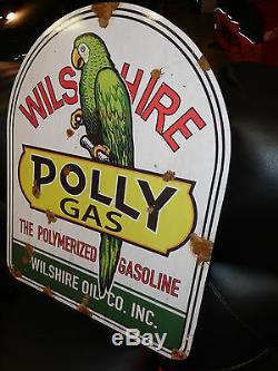 Look Porcelaine Antique Polly Gaz Pompe Station Service Grand Panneau De Marchand