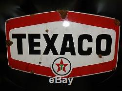 Look Porcelaine Antique Station Service Texaco Concessionnaire Grand Panneau Étoile