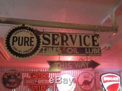 Look Vintage Style Antique Pompe À Essence Station Service Marchand D'huile Pur Signe Ensemble