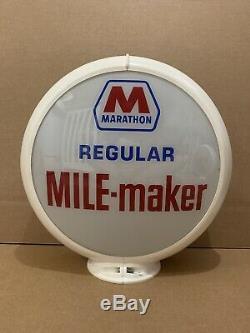 Marathon De Pompe À Gaz Globe Lumière Vintage Lentille En Verre Station Service Garage Moteur