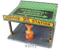 Marx Rare 1929 Tin Litho Aéroport Municipal Aero Gas Station Service Gratuit Navire
