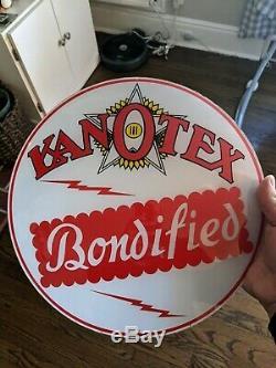 Objectifs Pompe Vintage Kanotex Gaz Globe (2) Nos Sign Oil Station Service Gill Body