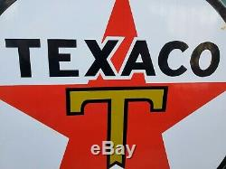 Old 1950 Texaco Porcelain Sign Gas Station Service Pump Plate Red Star