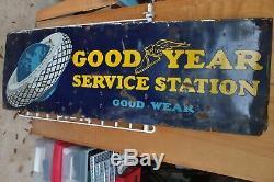 Orig 1930 Goodyear Service Station Porcelain Enamel Station D'essence Sign 6' X 2
