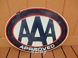 Original Vintage Aaa Auto Club Service Station Approuvé Porcelain Connexion Oil Gas