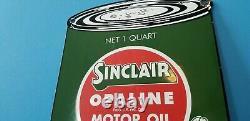 Panneau De La Station De Service De Quart Auto Oil De Porcelaine Essence Sinclair Vintage