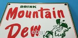 Panneau De La Station De Service Vintage Mountain Dew Porcelain Gas Soda Boissons