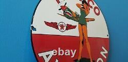 Panneau De La Vieille Station De Service De L'essence Texaco Porcelaine Ww2 D'avion Militaire