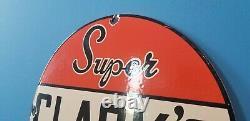 Panneau De Plaque De Pompe À Huile D'essence Vintage Clark Essence Porcelaine Super Service Station