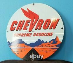 Panneau De Plaque De Pompe De La Station De Service D'essence De Porcelaine De Chevron Supreme