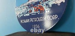 Panneau De Plaque De Pompe De La Station De Service D'huile De Pétrole À Moteur De Porcelaine D'essence Mohawk Vintage
