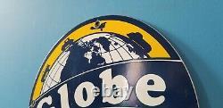 Panneau De Plaque De Pompe De La Station De Service De L'essence De Porcelaine De Globe Vintage