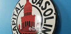 Panneau De Plaque De Pompe De La Station De Service De L'essence De Porcelaine De L'ancienne Capitale