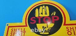 Panneau De Plaque De Pompe De La Station De Service Du Gaz Et De L'huile De Porcelaine De L'essence De Shell Vintage