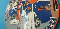 Panneau De Plaque De Pompe De La Station De Service Du Pétrole Et De L'essence De Porcelaine Du Gulf