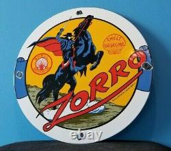 Panneau De Plaque De Pompe De La Station De Service Zorro À Gaz De Porcelaine D'essence De Shell Vintage