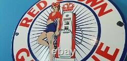 Panneau De Pompe De La Station Américaine De Service D'essence De Porcelaine De La Couronne Rouge