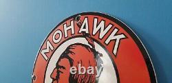 Panneau De Pompe De La Station De Service D'huile À Moteur De Porcelaine D'essence Mohawk Vintage