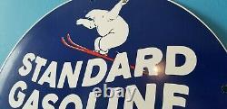 Panneau De Pompe De La Station De Service De L'essence Standard Vintage Porcelaine