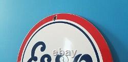 Panneau De Service De La Station De Service D'essence De Porcelaine D'esso Vintage