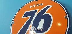 Panneau Publicitaire De La Station De Service D'essence De Porcelaine Vintage Union 76