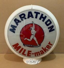 Pump Service Vintage Marathon Gaz Globe Lumière Lentille En Verre Garage Station Huile