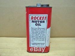 Rare Huile Moteur Rocket Vintage 2 Gal Can Service De Publicité En Métal Station