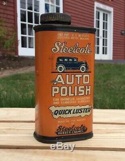 Rare Original Vintage Steelcote Auto Service Station Tin Can Gas Polish Sign
