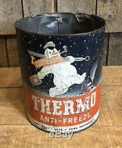 Rare Vintage 40s Thermo Anti Service Station Gel Gaz Snowman Can Sign